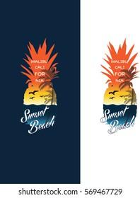 Surf beach pineapple illustration, typography, t-shirt graphics, vectors