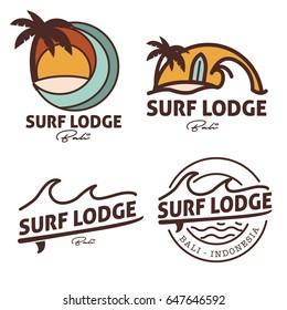 Surf, beach and wave logo