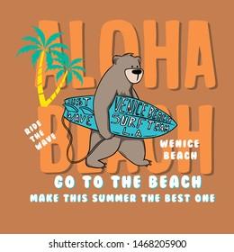 surf bear. aloha beach. summer