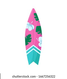 Surf board icon. Flat and cartoon illustration of surfboard vector sign for web design