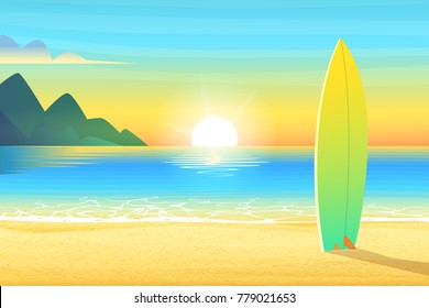 Surf board on a sandy beach. Sunrise or sunset, sand on bay and the mountain wonderful sun shines. Cartoon vector illustration.