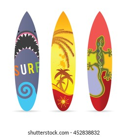 surf board set in various color illustration on white