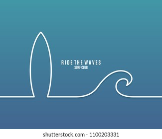 Surf board with wave line concept background