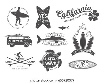Surf boards emblem and badges vector set. Signs and elements for summer labels design. Ocean surfing label, illustration of summer surfing badge