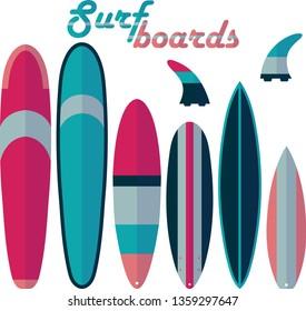Surf boards and fins shapes isolated elements set. Softboard, longboard, mini malibu, funboard, shortboard, big wave gun colorful flat vector illustration