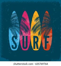 Surf boards,palm leaves on grunge background. Typography, t-shirt print, poster, banner, flyer, postcard