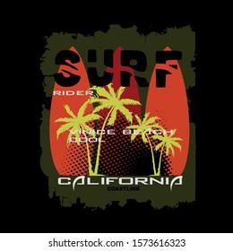surf california beach,nature images tee graphic t shirt print vector illustration design