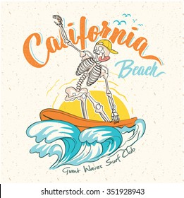 surf California Quality hand made tee Print graphic. Long beach surf story vector element.