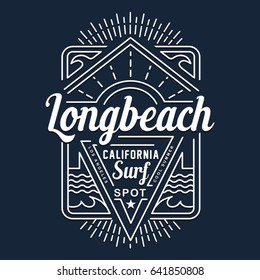 Surf California typography, tee shirt graphics, vectors