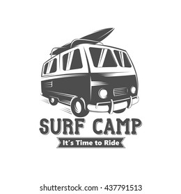 Surf camp logo design. Vintage black and white vector illustration of surf camp event.