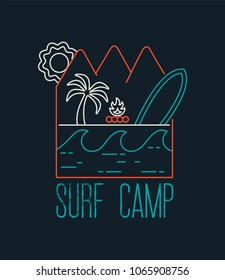 Surf camp typography label for summer activity. Modern line art design with surfboard, palm tree and ocean waves. EPS10 vector.