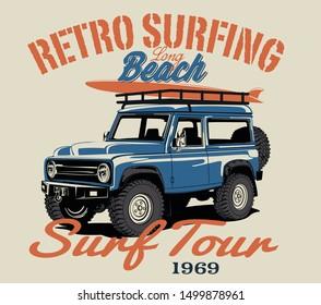 surf car and surf board vector illustration