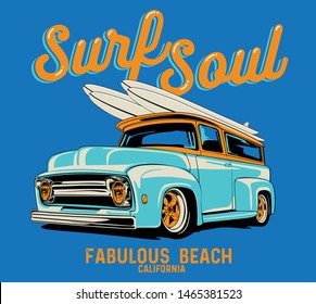 surf car drawing for t-shirt print