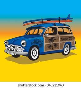 Surf car illustration, typography, t-shirt graphics, vectors