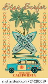 Surf car retro vector print.