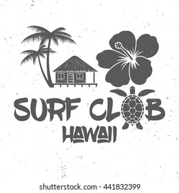 Surf club concept. Vector Summer surfing retro badge. Surfing concept for shirt or logo, print, stamp. Turtle, hawaii. Surf icon design. - stock vector.