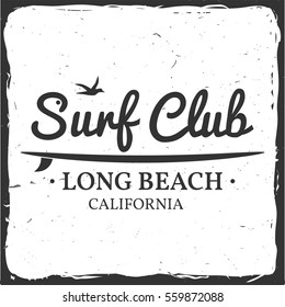 Surf club retro badge with board. Surfing concept for shirt or logo, print, stamp. Vector illustration.