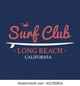 Surf club retro badge with board. Surfing concept for shirt or logo, print, stamp, tee. Vector illustration.
