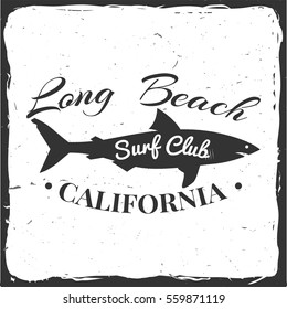 Surf club retro badge with shark. Surfing concept for shirt or logo, print, stamp. Vector illustration.
