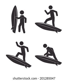 Surf design over white background, vector illustration