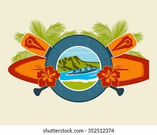 Surf Emblem Vector Illustration