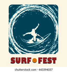 Surf festival emblem with surfer ride on a long board and lettering SURF FEST. Illustration in retro style.