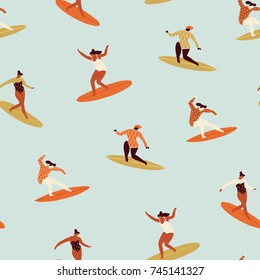 Surf girl surfing in the sea seamless pattern. 70s style pattern