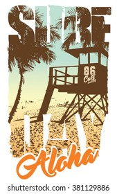 surf graphic. T-shirt Printing. Surfing Design.