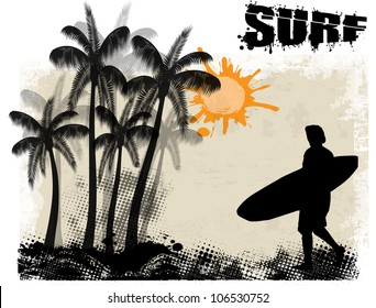 Surf grunge poster background with surfer and palms, vector illustration