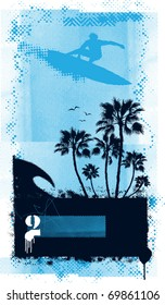 surf grunge poster with surfer palms and summer elements