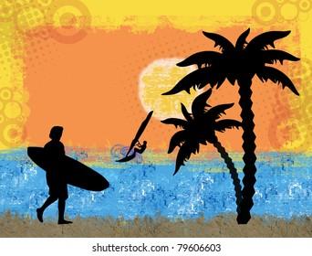 Surf grunge scene with surfer and windsurfer background, vector illustration