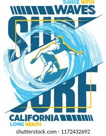 Surf. Surf illustration. Surf Tee design.