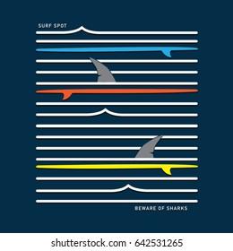 Surf illustration, tee shirt graphics, vectors
