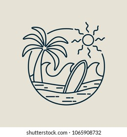 Surf line art stamp in modern flat style. Paradise beach illustration with palm tree, ocean waves and surfboard. EPS10 vector.