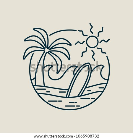 Surf Line Art Stamp In Modern Flat Style Paradise Beach Illustration With Palm Tree