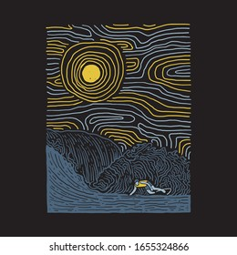 Surf line graphic illustration vector art t-shirt design