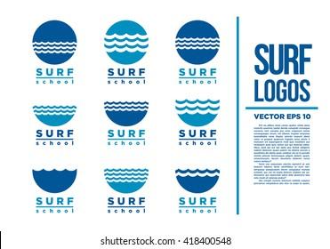 Surf Logo Blue Wave vector illustration