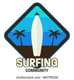Surf logo template, Wave logo.