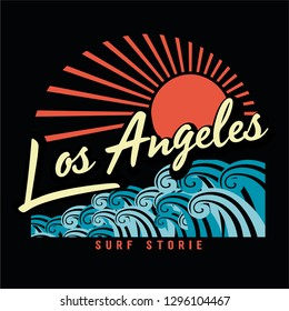 surf and los angeles print design for t-shirt print