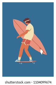 Surf poster with a boy skateboarder riding a skateboard carrying surfboard.