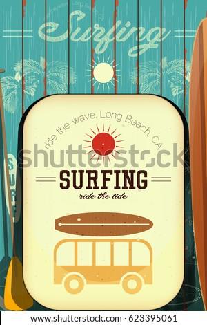 surf poster retro style surfing club のベクター画像素材