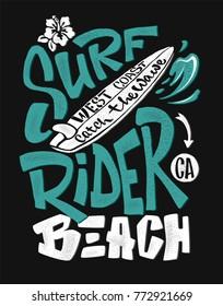 surf rider print. t-shirt graphic design vector illustration
