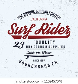 Surf Rider typography. California state,  vintage vector t-shirt and apparel design, typography, print, logo, poster. Vector