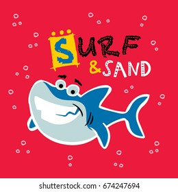 surf and sand. cute shark vector cartoon