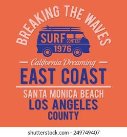 Surf Santa Monica typography, t-shirt graphics, vectors
