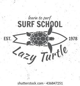 Surf school concept.Vector Summer surfing retro badge. Surfer school emblem, outdoors banner, vintage background. Surfing concept for shirt or logo, print, stamp. Boards, lazy turtle, hawaii.