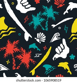 Surf seamless pattern with handmade grunge texture icons and doodles. Colorful surfer decoration tropical beach palm tree, surfboard, shark, shaka hand sign. EPS10 vector.