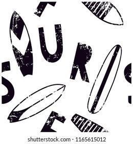 Surf seamless pattern.Surfboard vector print.Summer design.