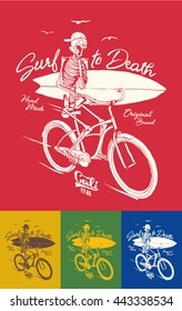 surf skeleton. surf California Quality hand made tee Print graphic. Long beach surf story vector element.