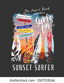 surf slogan with surfboards on sunset background